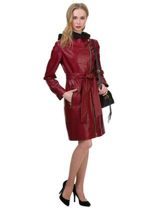 Кожаное пальто эко кожа 100% П/А, цвет бордо, арт. 04700120  - цена 7490 руб.  - магазин TOTOGROUP