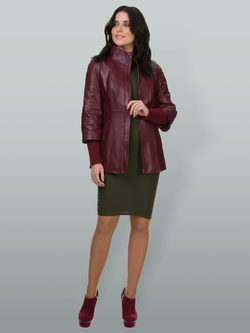Кожаная куртка кожа овца, цвет бордо, арт. 04700134  - цена 14190 руб.  - магазин TOTOGROUP