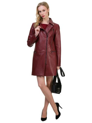 Кожаное пальто эко кожа 100% П/А, цвет бордо, арт. 04700163  - цена 3590 руб.  - магазин TOTOGROUP