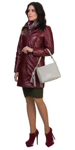 Кожаное пальто кожа овца, цвет бордо, арт. 04700526  - цена 17490 руб.  - магазин TOTOGROUP