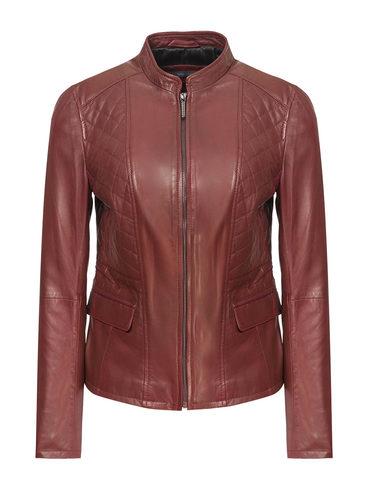 Кожаная куртка кожа, цвет бордо, арт. 04809204  - цена 11990 руб.  - магазин TOTOGROUP