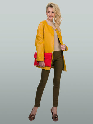 Кожаная куртка эко кожа 100% П/А, цвет желтый, арт. 05700162  - цена 7690 руб.  - магазин TOTOGROUP