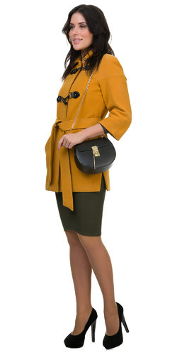 Текстильное пальто 30%шерсть, 70% п\а, цвет желтый, арт. 05700399  - цена 3190 руб.  - магазин TOTOGROUP
