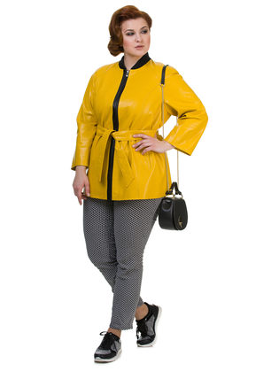 Кожаная куртка эко кожа 100% П/А, цвет желтый, арт. 05700447  - цена 7490 руб.  - магазин TOTOGROUP