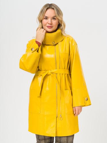 Кожаное пальто эко-кожа 100% П/А, цвет желтый, арт. 05810025  - цена 6990 руб.  - магазин TOTOGROUP