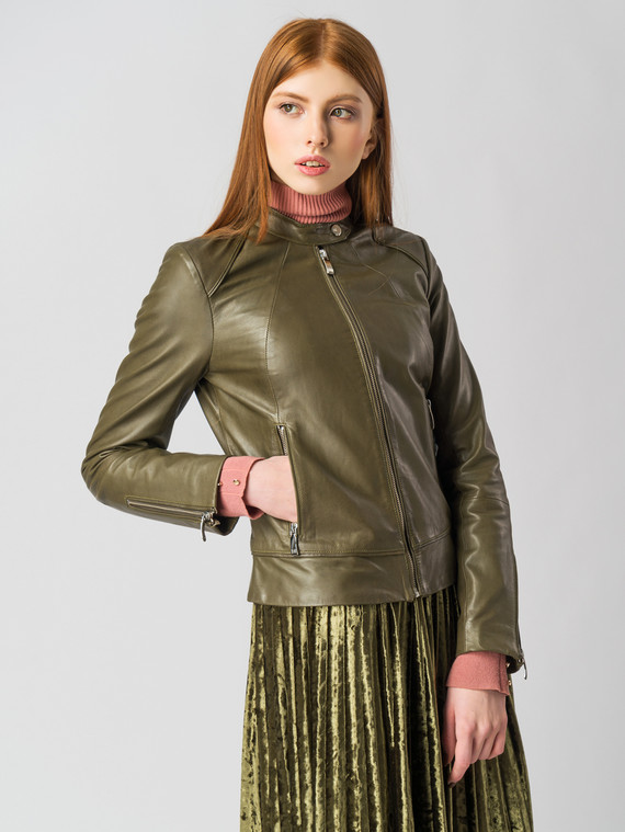 Кожаная куртка кожа , цвет зеленый, арт. 06005494  - цена 6630 руб.  - магазин TOTOGROUP