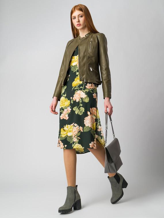 Кожаная куртка кожа , цвет зеленый, арт. 06005495  - цена 7490 руб.  - магазин TOTOGROUP