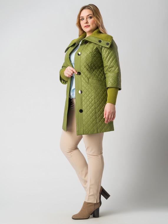 Кожаное пальто эко кожа 100% П/А, цвет зеленый, арт. 06005787  - цена 5890 руб.  - магазин TOTOGROUP