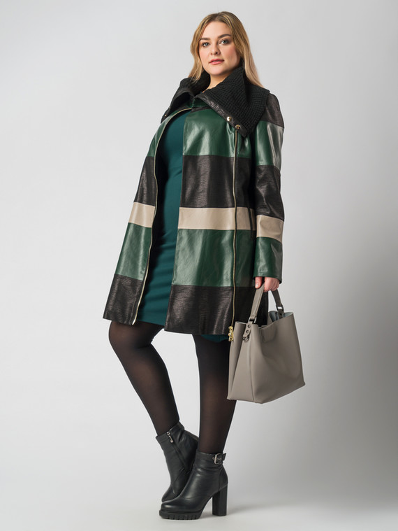 Кожаное пальто эко кожа 100% П/А, цвет зеленый, арт. 06005788  - цена 6990 руб.  - магазин TOTOGROUP