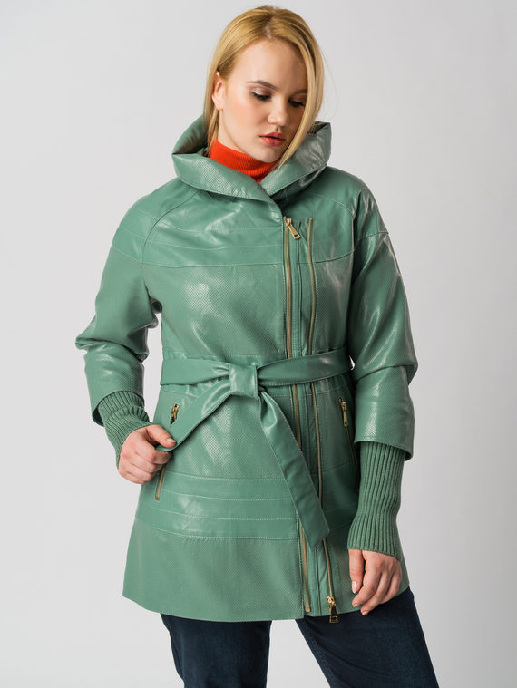 Кожаная куртка эко кожа 100% П/А, цвет зеленый, арт. 06005931  - цена 6290 руб.  - магазин TOTOGROUP