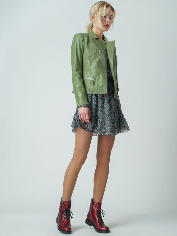 Кожаная куртка кожа , цвет зеленый, арт. 06006104  - цена 5890 руб.  - магазин TOTOGROUP