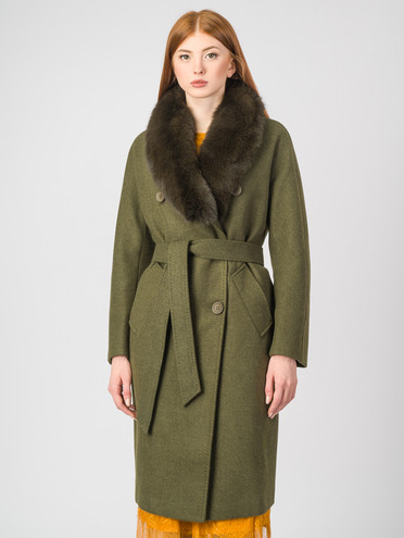 Текстильное пальто 30%шерсть, 70% п.э, цвет болотный, арт. 06006795  - цена 7990 руб.  - магазин TOTOGROUP
