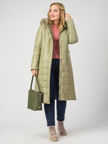 Кожаное пальто эко-кожа 100% П/А, цвет зеленый, арт. 06007121  - цена 8990 руб.  - магазин TOTOGROUP