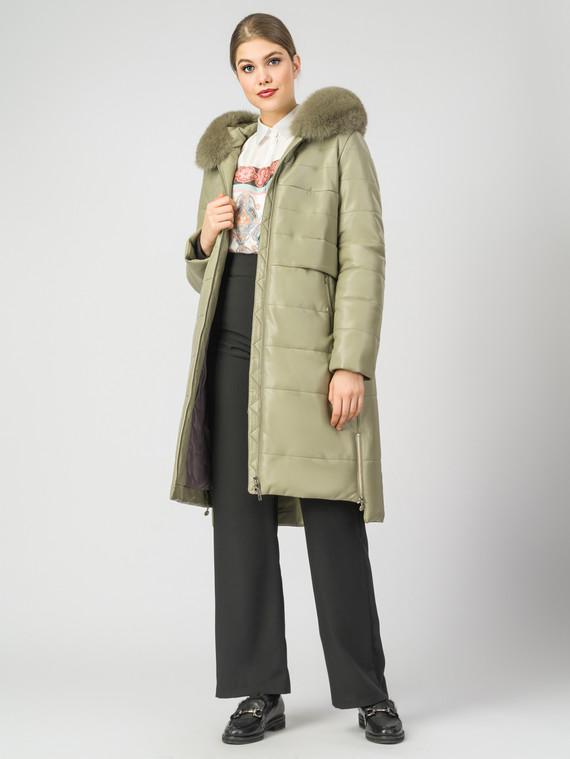 Кожаное пальто эко-кожа 100% П/А, цвет зеленый, арт. 06007306  - цена 10590 руб.  - магазин TOTOGROUP