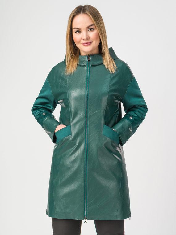 Кожаное пальто эко-кожа 100% П/А, цвет зеленый, арт. 06108202  - цена 3990 руб.  - магазин TOTOGROUP