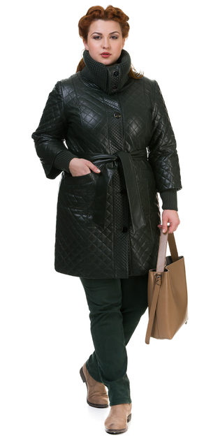 Кожаное пальто эко кожа 100% П/А, цвет зеленый, арт. 06700118  - цена 7990 руб.  - магазин TOTOGROUP