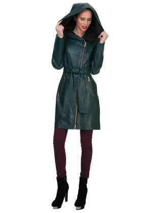 Кожаное пальто эко кожа 100% П/А, цвет зеленый, арт. 06700120  - цена 6990 руб.  - магазин TOTOGROUP