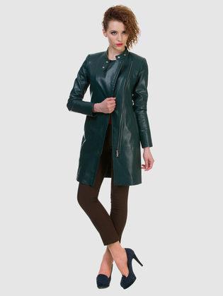 Кожаное пальто эко кожа 100% П/А, цвет зеленый, арт. 06700151  - цена 6990 руб.  - магазин TOTOGROUP