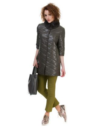 Кожаное пальто эко кожа 100% П/А, цвет болотный, арт. 06700158  - цена 6290 руб.  - магазин TOTOGROUP
