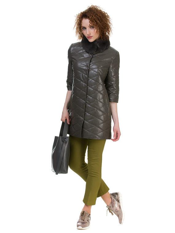 Кожаное пальто эко кожа 100% П/А, цвет болотный, арт. 06700158  - цена 6630 руб.  - магазин TOTOGROUP