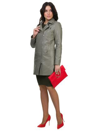 Кожаное пальто эко кожа 100% П/А, цвет зеленый, арт. 06700163  - цена 5290 руб.  - магазин TOTOGROUP