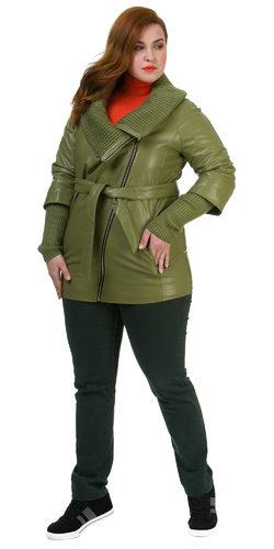 Кожаная куртка эко кожа 100% П/А, цвет светло-зеленый, арт. 06700437  - цена 7990 руб.  - магазин TOTOGROUP