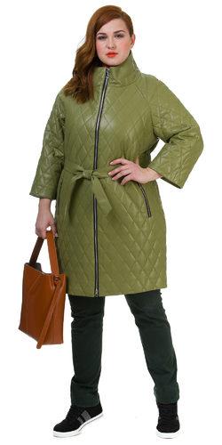 Кожаное пальто эко кожа 100% П/А, цвет зеленый, арт. 06700450  - цена 8990 руб.  - магазин TOTOGROUP