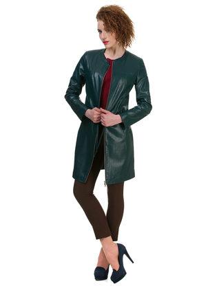 Кожаное пальто эко кожа 100% П/А, цвет зеленый, арт. 06700486  - цена 6990 руб.  - магазин TOTOGROUP