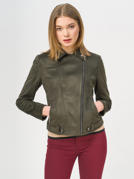 Кожаная куртка эко-замша 100% П/А, цвет зеленый, арт. 06810221  - цена 4990 руб.  - магазин TOTOGROUP