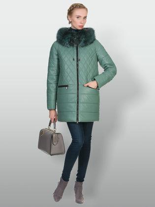 Кожаная куртка эко кожа 100% П/А, цвет зеленый, арт. 06902656  - цена 17990 руб.  - магазин TOTOGROUP