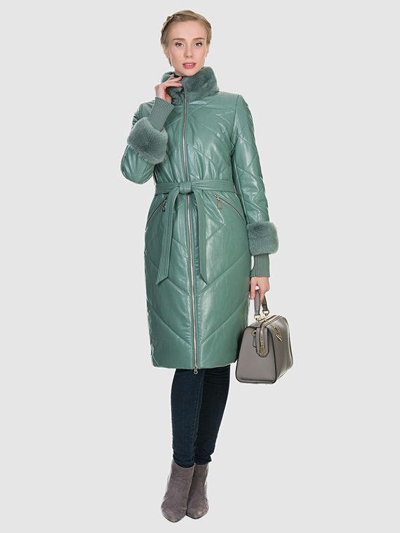 Кожаное пальто эко кожа 100% П/А, цвет зеленый, арт. 06903000  - цена 9990 руб.  - магазин TOTOGROUP