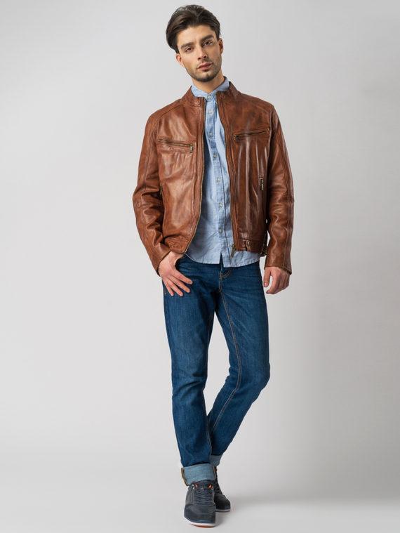 Кожаная куртка кожа , цвет рыжий, арт. 07003417  - цена 13390 руб.  - магазин TOTOGROUP