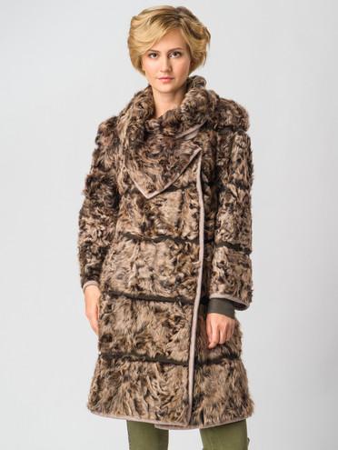 Шуба из козы мех коза, цвет коричневый, арт. 07003659  - цена 35990 руб.  - магазин TOTOGROUP