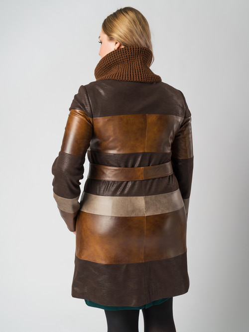 Кожаное пальто артикул 07005788/46 - фото 3