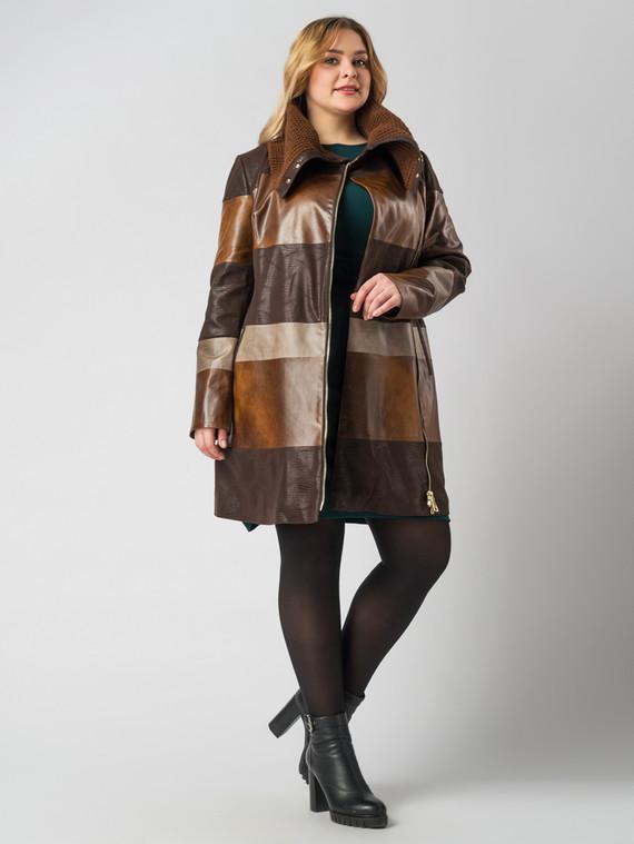 Кожаное пальто эко кожа 100% П/А, цвет коричневый, арт. 07005788  - цена 7490 руб.  - магазин TOTOGROUP