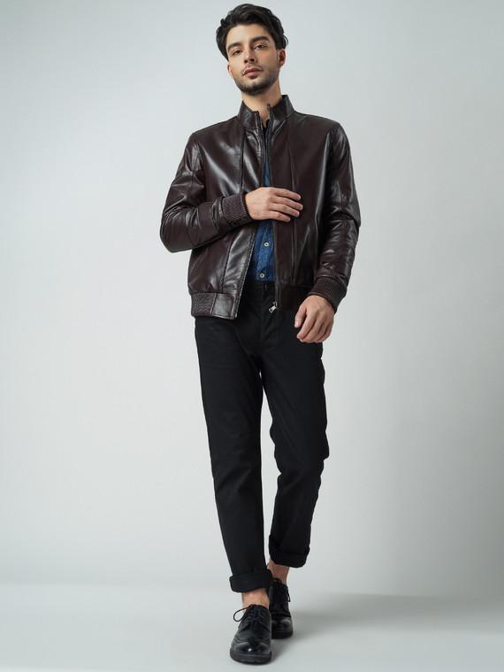 Кожаная куртка кожа баран, цвет темно-коричневый, арт. 07005868  - цена 9490 руб.  - магазин TOTOGROUP
