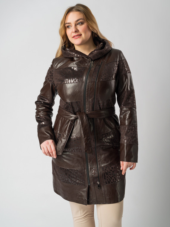 Кожаное пальто эко кожа 100% П/А, цвет коричневый, арт. 07005890  - цена 5590 руб.  - магазин TOTOGROUP