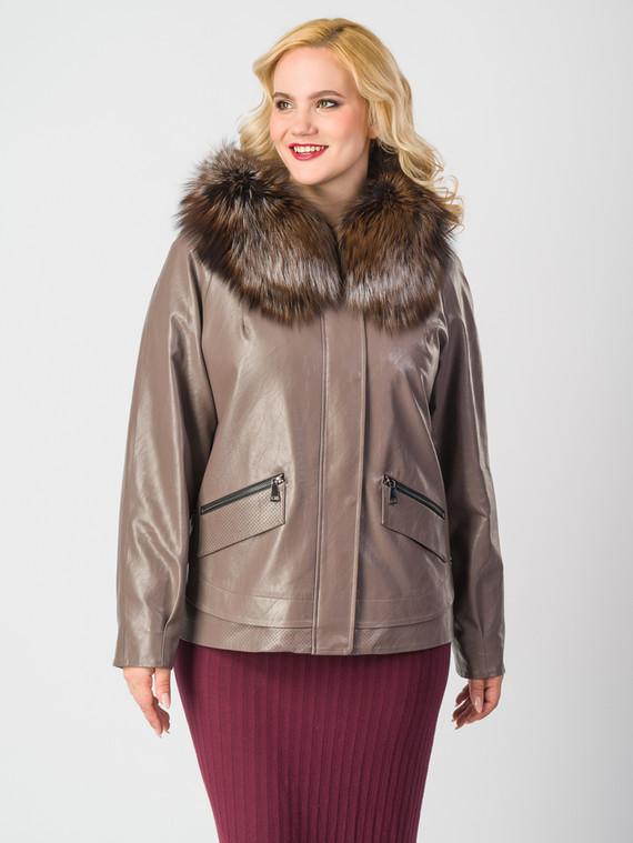 Кожаная куртка эко-кожа 100% П/А, цвет светло-коричневый, арт. 07006469  - цена 9990 руб.  - магазин TOTOGROUP