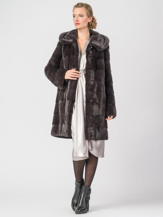 Шуба из норки мех норка, цвет темно-коричневый, арт. 07006591  - цена 141490 руб.  - магазин TOTOGROUP