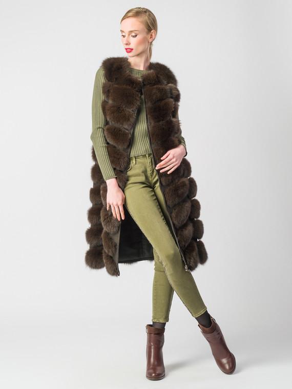 Меховой жилет мех песец, цвет темно-коричневый, арт. 07006598  - цена 23990 руб.  - магазин TOTOGROUP