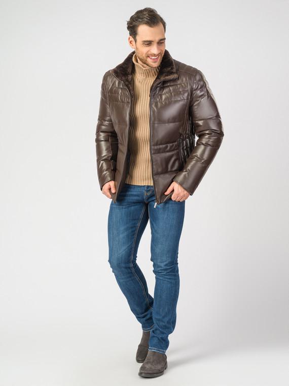 Кожаная куртка кожа, цвет коричневый, арт. 07006895  - цена 14190 руб.  - магазин TOTOGROUP