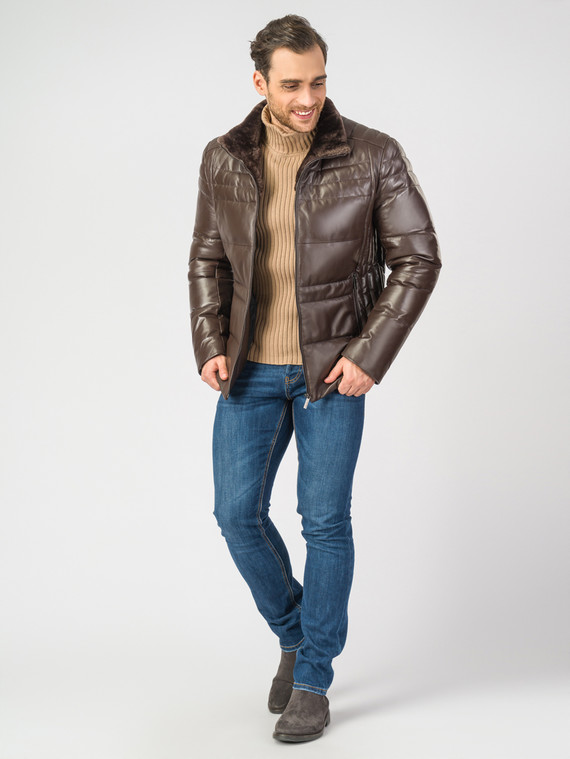 Кожаная куртка кожа , цвет коричневый, арт. 07006895  - цена 16990 руб.  - магазин TOTOGROUP