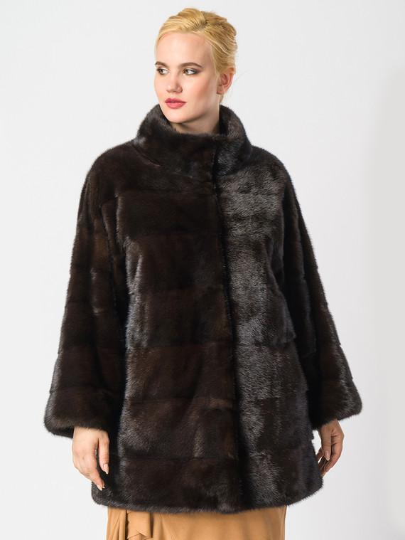 Шуба из норки мех норка, цвет темно-коричневый, арт. 07006912  - цена 59990 руб.  - магазин TOTOGROUP