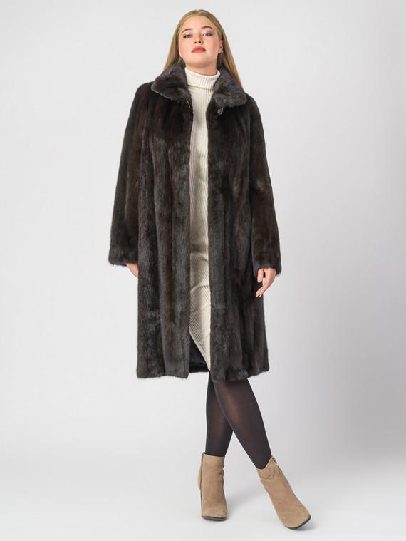 Шуба из норки мех норка, цвет темно-коричневый, арт. 07006947  - цена 112990 руб.  - магазин TOTOGROUP
