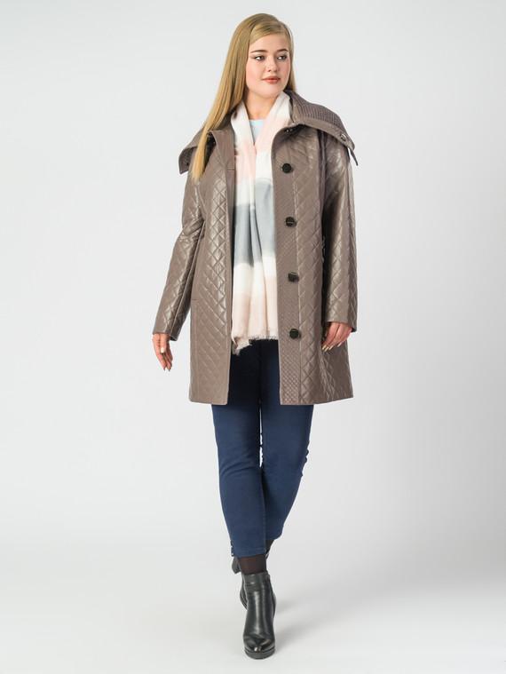 Кожаное пальто эко-кожа 100% П/А, цвет коричневый, арт. 07006979  - цена 8990 руб.  - магазин TOTOGROUP