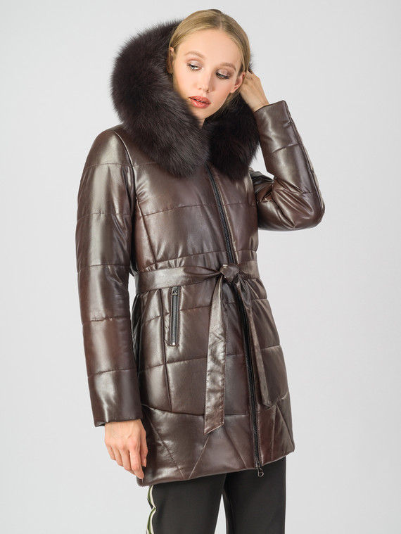 Кожаное пальто эко-кожа 100% П/А, цвет коричневый, арт. 07007005  - цена 9490 руб.  - магазин TOTOGROUP