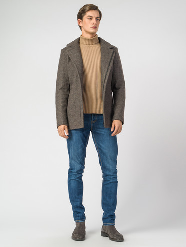 Текстильное пальто 51% п/э,49%шерсть, цвет коричневый, арт. 07007034  - цена 4990 руб.  - магазин TOTOGROUP