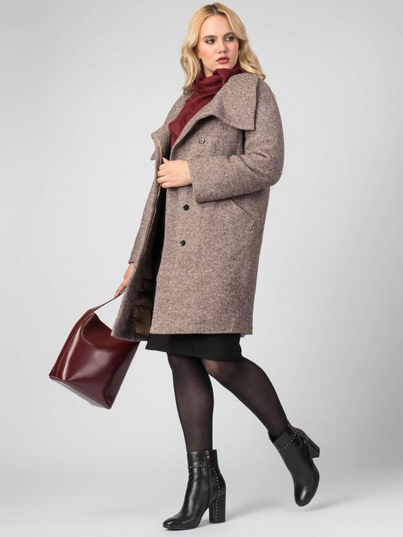 Текстильное пальто 30%шерсть, 70% п\а, цвет коричневый, арт. 07007107  - цена 8490 руб.  - магазин TOTOGROUP