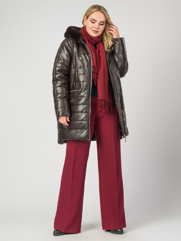 Кожаное пальто эко-кожа 100% П/А, цвет коричневый, арт. 07007123  - цена 9990 руб.  - магазин TOTOGROUP