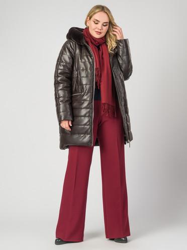 Кожаное пальто эко-кожа 100% П/А, цвет коричневый, арт. 07007123  - цена 9490 руб.  - магазин TOTOGROUP